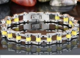 motorkářský náramek řetěz žlutý
