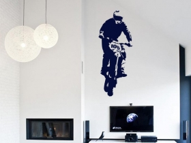 samolepka na zeď motokrosař