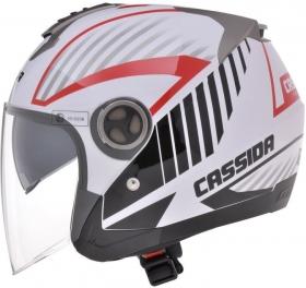 otevřená helma Cassida Magnum černá/bílá/červená