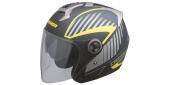 otevřená helma Cassida Magnum černá matná/šedá/žlutá fluo