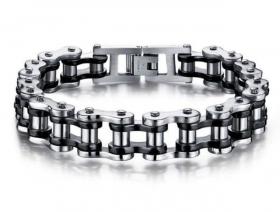 motorkářský náramek řetěz černo stříbrný