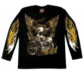 moto triko s oboustranným potiskem - dlouhý rukáv