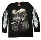 moto triko s oboustranným potiskem - dlouhý rukáv SVÍTÍCÍ