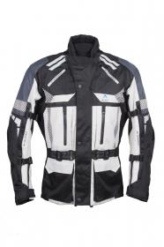 textilní moto bunda Roleff Rujana světle šedá/černá/tmavě modrá