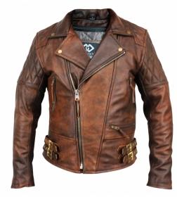 kožená moto bunda křivák Diamond hnědý