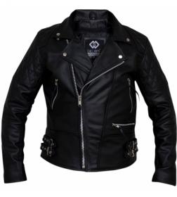kožená moto bunda křivák Diamond černý