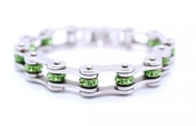 dámský motorkářský náramek řetěz zelený