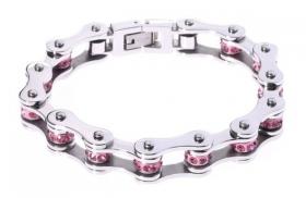 dámský motorkářský náramek řetěz růžový