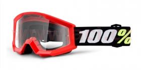 dětské brýle na motokros 100% Strata Mini Gron Red (čiré plexi s čepy pro slídy)