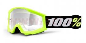 dětské brýle na motokros 100% Strata Mini Gron Yellow (čiré plexi s čepy pro slídy)