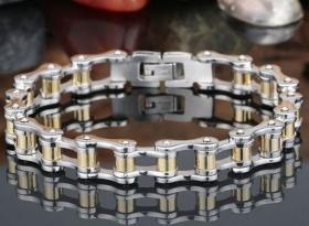 motorkářský náramek řetěz stříbrno zlatý