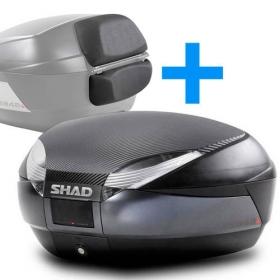 moto kufr Shad SH48 tmavě šedý včetně opěrky a karbonového víka