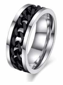 motorkářský prsten černo stříbrný