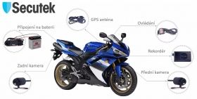 duální kamera na motocykl Secutek C-M2W s externím rekordérem a WiFi