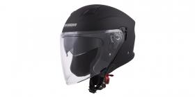 otevřená helma Cassida Jet Tech černá matná/šedá loga