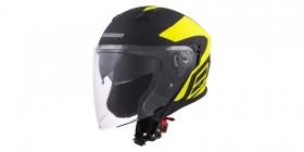 otevřená helma Cassida Jet Tech Corso černá matná/žlutá fluo