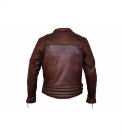 kožená moto bunda křivák Diamond tmavě hnědý