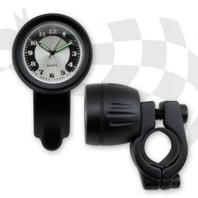 hodiny černé na řidítko s objímkou