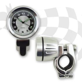 hodiny chrom na řidítko s objímkou