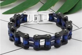 motorkářský náramek řetěz černo modrý