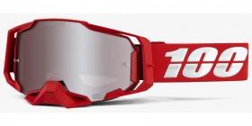 brýle na motokros 100% Armega Red(Hiper stříbrné plexi s čepy pro slídy)