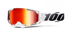 brýle na motokros 100% Armega Lightsaber(červené chrom plexi s čepy pro slídy)