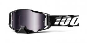 brýle na motokros 100% Armega Black(stříbrné chrom plexi s čepy pro slídy)