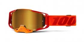 brýle na motokros 100% Armega Litkit(zlaté chromované plexi s čepy pro slídy)