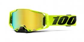 brýle na motokros 100% Armega Nuclear Citrus(zlaté chromované plexi s čepy pro slídy)