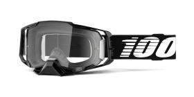 brýle na motokros 100% Armega Black(čiré plexi s čepy pro slídy)