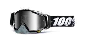 brýle na motokros 100% Racecraft Abyss Black(stříbrné chrom plexi + čiré plexi + chránič nosu + 20 strhávaček)