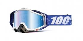brýle na motokros 100% Racecraft Cobalt Blue(modré chrom plexi + čiré plexi + chránič nosu + 20 strhávaček)