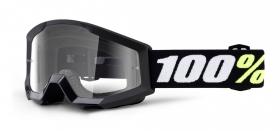 dětské brýle na motokros 100% Strata Mini Gron Black (čiré plexi s čepy pro slídy)