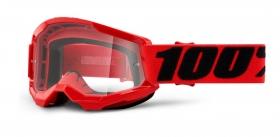 dětské brýle na motokros 100% Strata 2 červené čiré plexi