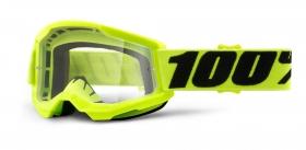 dětské brýle na motokros 100% Strata 2 žluté čiré plexi