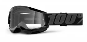 brýle na motokros 100% Strata 2 černé čiré plexi
