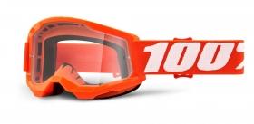brýle na motokros 100% Strata 2 Orange čiré plexi