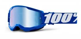 dětské brýle na motokros 100% Strata 2 modré zrcadlové modré plexi