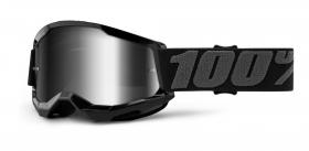 dětské brýle na motokros 100% Strata 2 černé zrcadlové stříbrné plexi