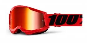 brýle na motokros 100% Strata 2 červené zrcadlové červené plexi