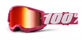 brýle na motokros 100% Strata 2 Fletcher zrcadlové červené plexi