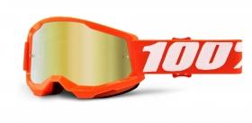 brýle na motokros 100% Strata 2 Orange zrcadlové zlaté plexi