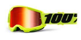 brýle na motokros 100% Strata 2 žluté zrcadlové červené plexi
