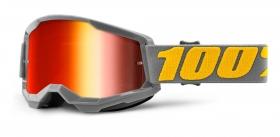 brýle na motokros 100% Strata 2 Izipizi zrcadlové červené plexi