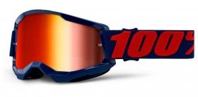 brýle na motokros 100% Strata 2 Masego zrcadlové červené plexi