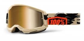 brýle na motokros 100% Strata 2 Kombat zrcadlové zlaté plexi