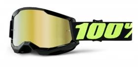 brýle na motokros 100% Strata 2 Upsol zrcadlové zlaté plexi