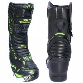 boty na motorku Racing Boot černá/zelená fluo