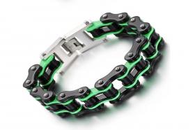 motorkářský náramek řetěz černo zelený
