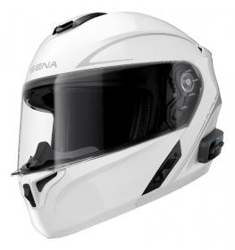 vyklápěcí přilba Sena Outrush R s integrovaným headsetem bílá lesklá